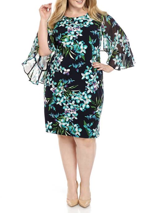 Connected Apparel Plus Size Cape Sleeve Floral Mixed