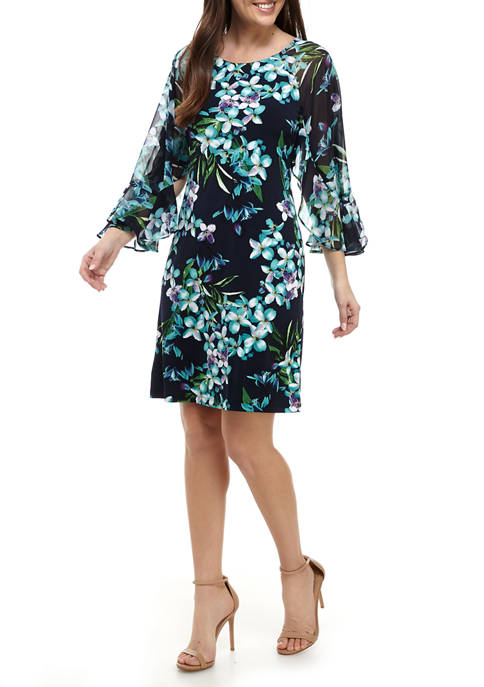 Womens Flare Sleeve Floral Shift Dress