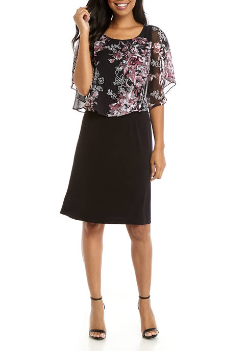 Connected Apparel Womens Capelet Print Overlay Dress