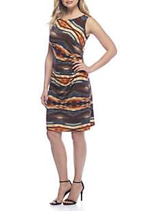 Sleeveless Ruched Waist Dress