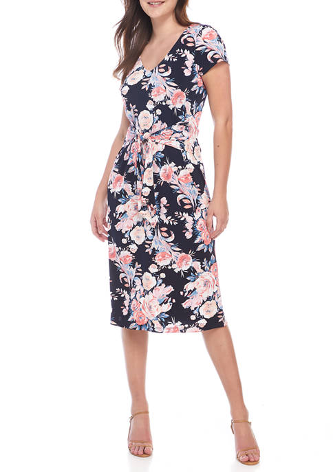 Connected Apparel Womens Ruched Sleeve Floral V-Neck Top