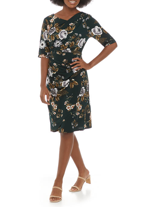 Connected Apparel Womens 3/4 Sleeve Floral Dress