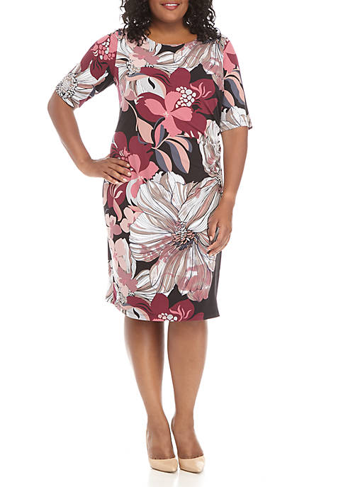 Connected Apparel Side Ruched Floral Dress