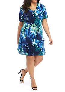 Connected Apparel Plus Size Floral Tiered Bodre Dress