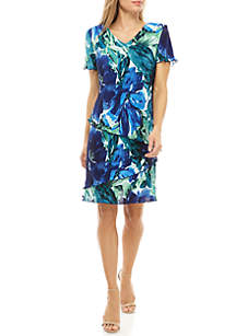 Connected Apparel Short Sleeve Floral Tiered Bodre Dress