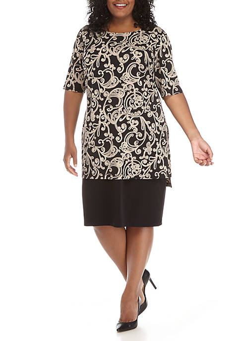 Connected Apparel Short Sleeve Printed Long Popover Dress