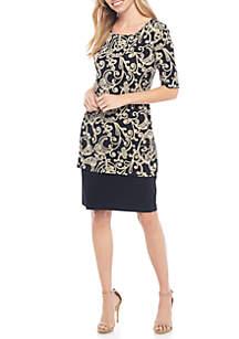 EDV Short Sleeve Printed Long Popover Dress