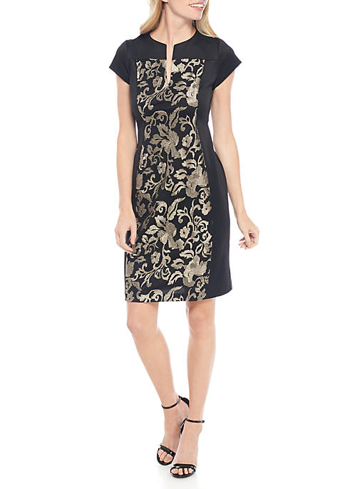 Connected Apparel Embroidered Panel Front Scuba Sheath Dress