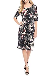 EDV Side Ruched Leaf Print Dress