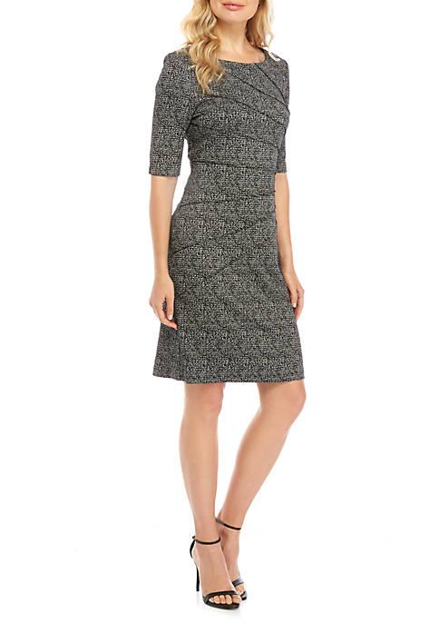 Connected Apparel Short Sleeve Tweed Print Dress