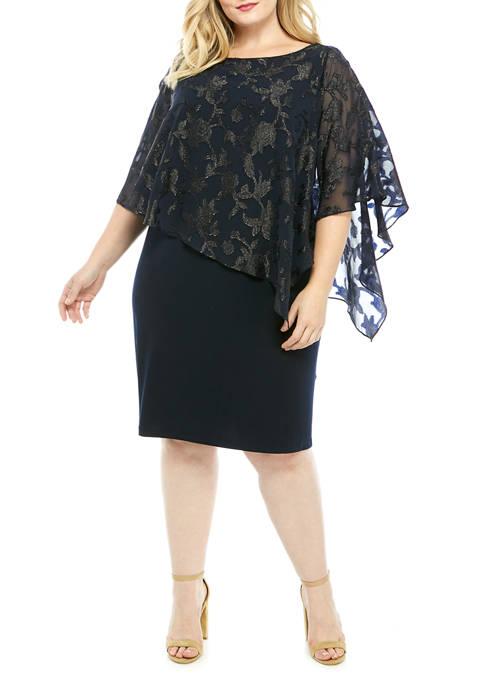 Plus Size Knit Dress with Chiffon Cape