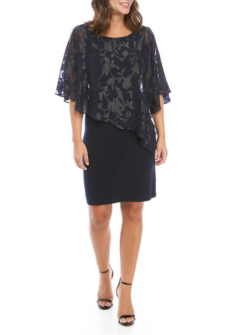 Womens A-Line Dress with Chiffon Cape