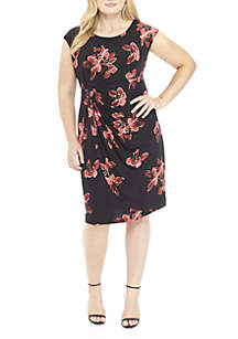 Plus Size Cap Sleeve Printed Side Ruched Dress