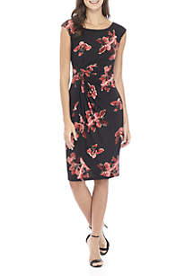 Cap Sleeve Printed Side Ruched Dress