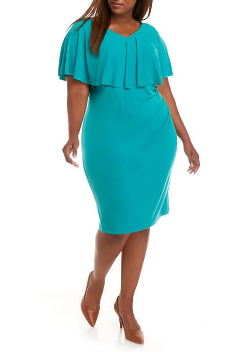 Plus Size Cape Sheath Dress