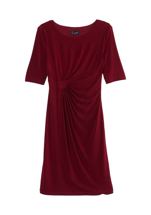 Connected Apparel Womens Elbow-Sleeve Faux Wrap Dress