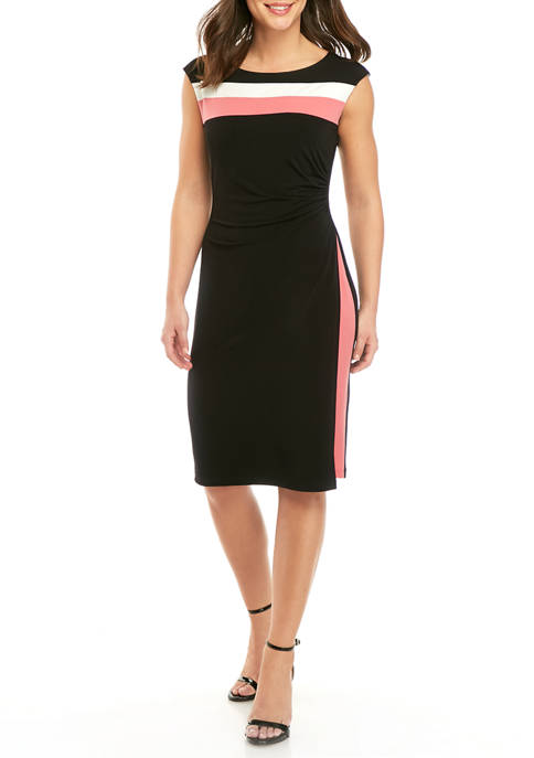 Connected Apparel Womens Color Block Sleeveless Dress