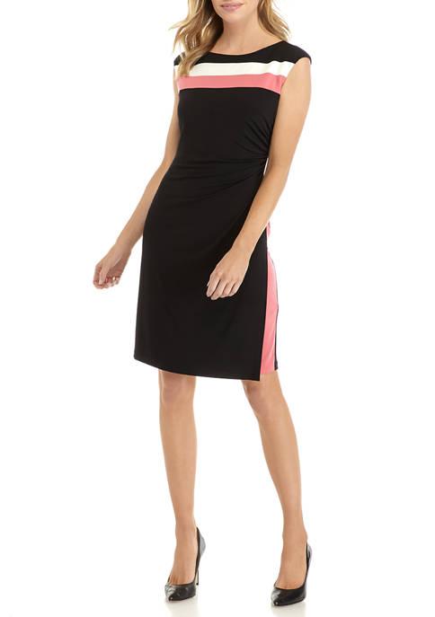 Petite Side Ruche Color Block Dress