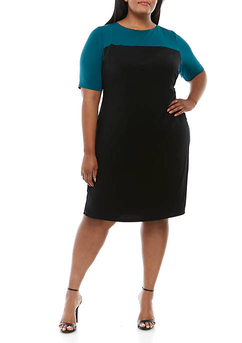 Connected Apparel Plus Size Elbow Sleeve Color Block