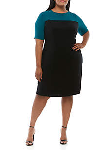 Connected Apparel Plus Size Elbow Sleeve Color Block Dress
