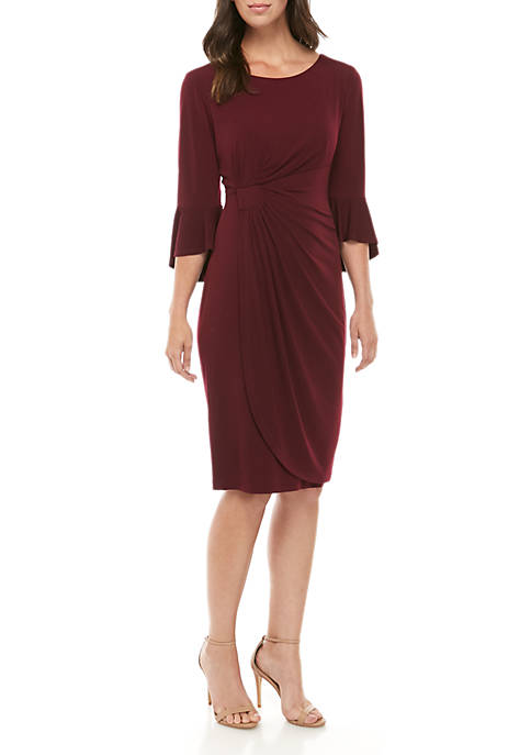 Connected Apparel Solid Bell Sleeve Side Ruch Dress