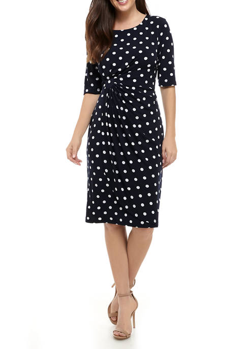 Connected Apparel Womens Dot Side Ruched Dress