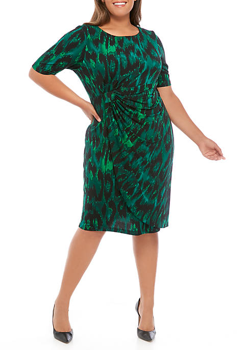 Connected Apparel Plus Size 3/4 Sleeve Ruched Animal