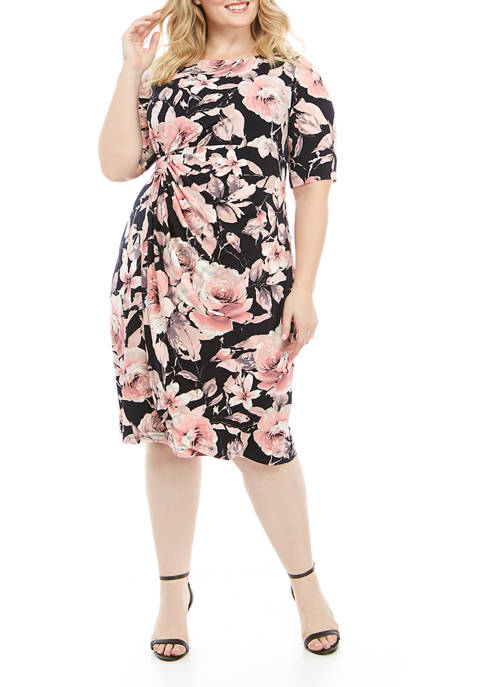 Connected Apparel Plus Size Elbow Sleeve Ruched Side