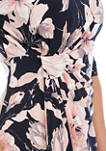 Womens Elbow Sleeve Side Ruch Print Knit Dress