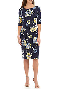 Connected Apparel Short Sleeve Floral Side Ruched Dress