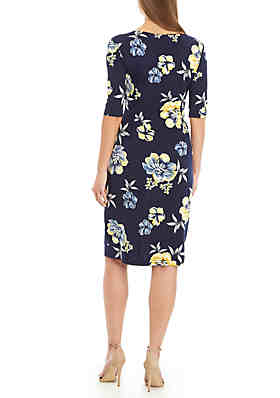 90ee567b ... Connected Apparel Short Sleeve Floral Side Ruched Dress