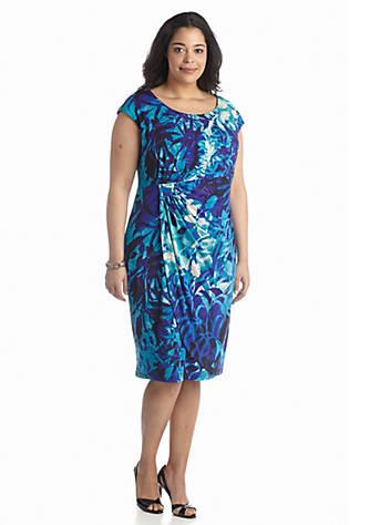 Connected Apparel Plus Size Printed Faux Wrap Dress Belk