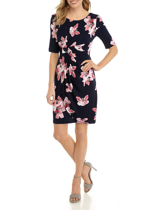 Petite Elbow Sleeve Floral Side Ruched Dress