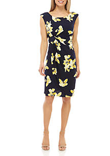 Connected Apparel Cap Sleeve Floral Ruched Dress