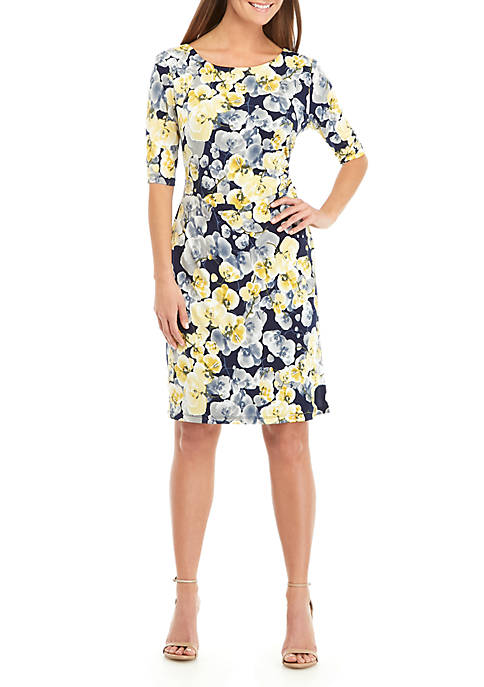 Connected Apparel Pansy Floral Side Ruched Dress