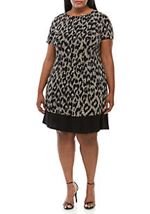 Connected Apparel Plus Size Printed Fit and Flare Dress