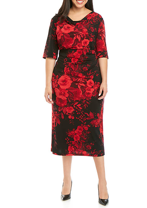 Connected Apparel Plus Size Floral Drape Neck Midi