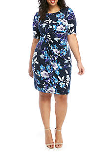 139a710b27630 ... Connected Apparel Plus Size Elbow Sleeve Floral A Line Dress