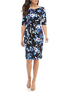 Connected Apparel Elbow Sleeve Side Ruched Dress