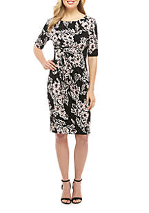Connected Apparel Floral Sheath Dress with Ruched Side
