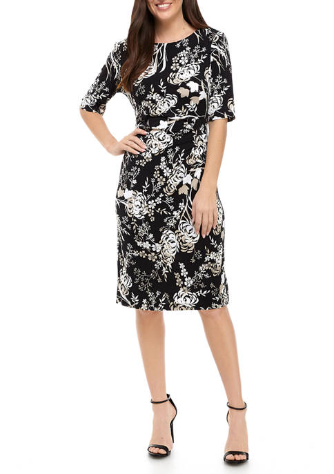 Connected Apparel Womens Elbow Sleeve Ride Ruched Floral