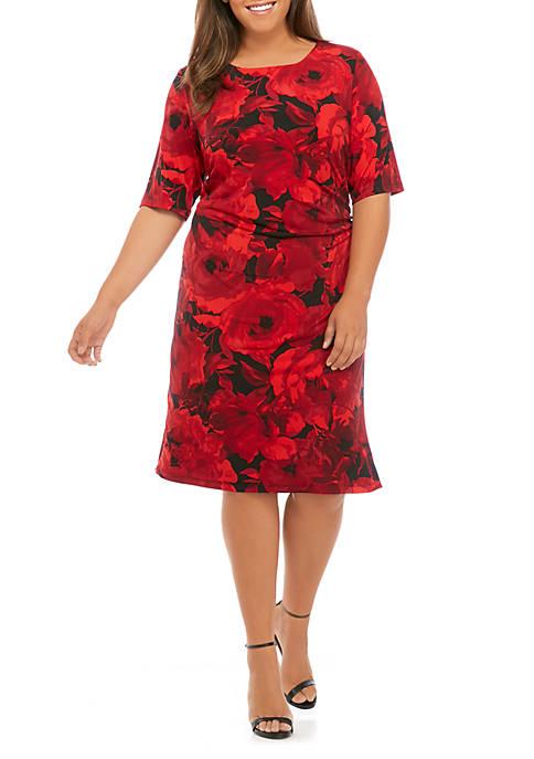 Connected Apparel Plus Size Shift Print Dress