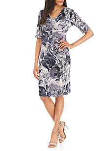 Short Sleeve Drape Neck Printed Dress