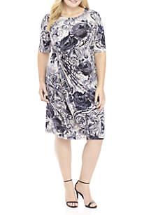 Plus Size Drape Neck Printed Dress