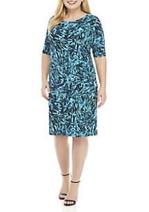 Plus Size Watercolor Leaf Print Dress