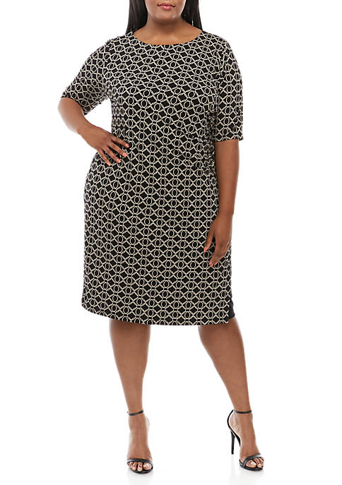 Connected Apparel Plus Size Graphic Side Ruched Sheath