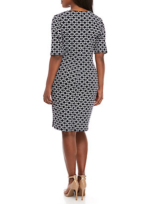 a729e40ae8833 ... Connected Apparel Plus Size Graphic Side Ruched Sheath Dress