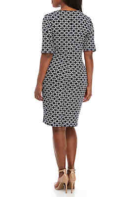 3fd6654cb55 ... Connected Apparel Plus Size Graphic Side Ruched Sheath Dress