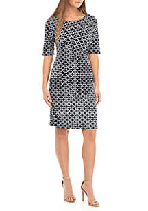 Connected Apparel Graphic Side Ruched Dress