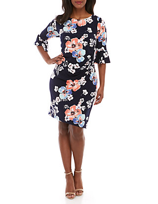 Connected Apparel Plus Size Bell Sleeve Floral Side Ruched Dress | belk
